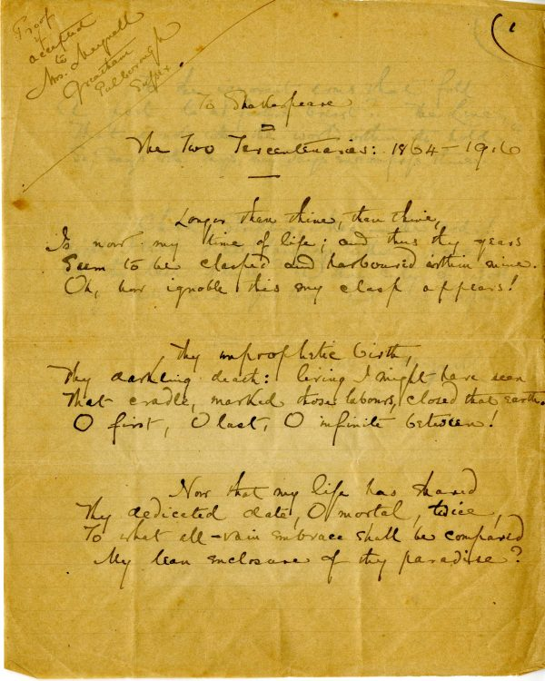 To Shakespeare: The Two Tercentenaries: 1864 – 1916