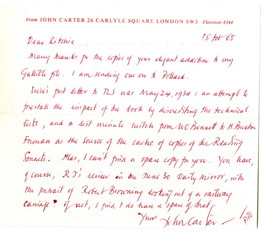 Autograph letter to [Lord] Ritchie [of Dundee], February 15, 1965