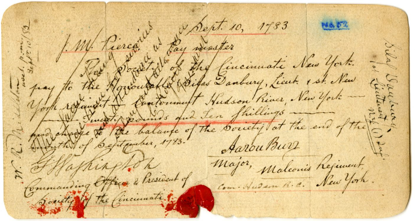 Forgery of a payment authorization signed by Aaron Burr