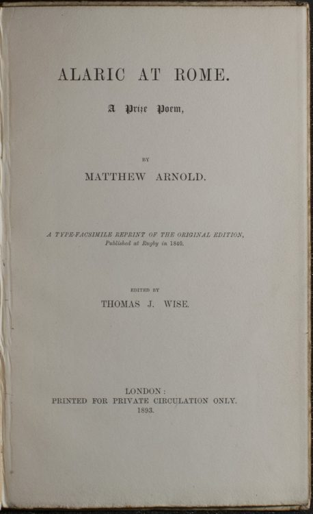 Alaric at Rome. A Prize Poem– Matthew Arnold (1822-1888)