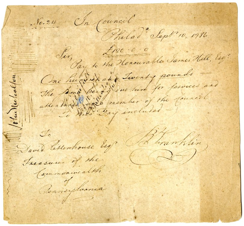 Forgery of a payment authorization signed by Benjamin Franklin