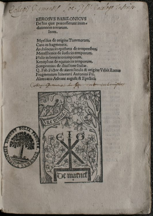 Berosvs Babilonicvs De His Quae Praecesserunt Inundationem Terrarum