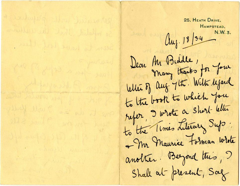 Autograph letter to [Moncure] Biddle, August 18, 1934.