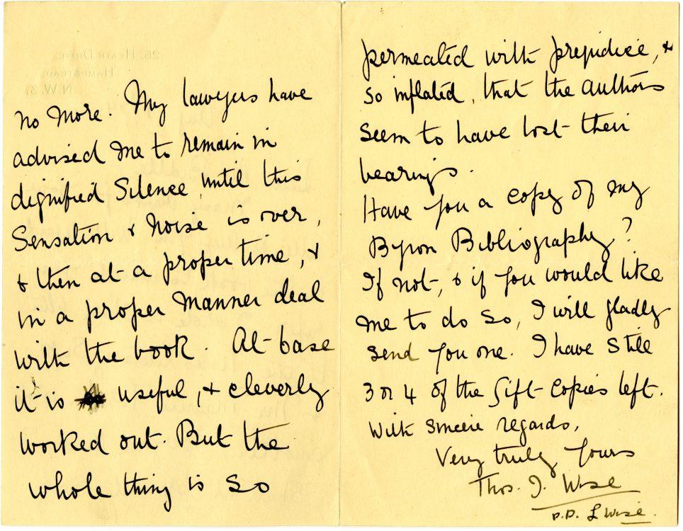 Autograph letter to [Moncure] Biddle, August 18, 1934. (verso)