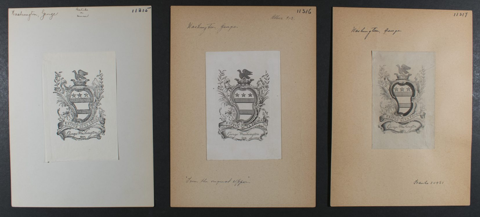 Counterfeits and/or Facsimiles of George Washington's Bookplate