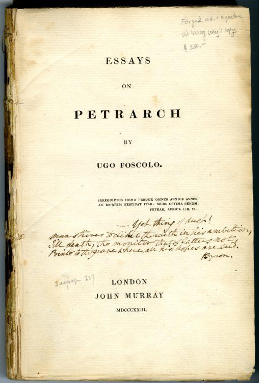 Forged Byron Manuscript