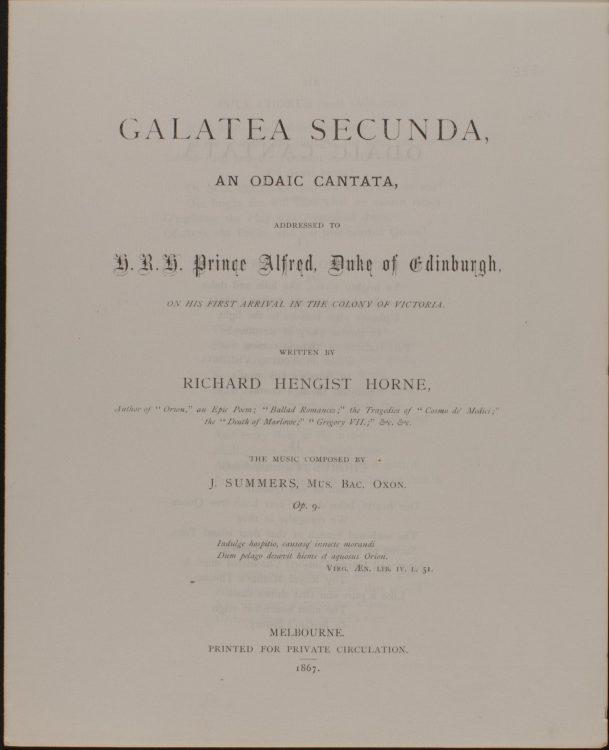 Galatea Secunda: An Odaic Cantata, Addressed to H.R.H. Prince Alfred, Duke of Edinburgh