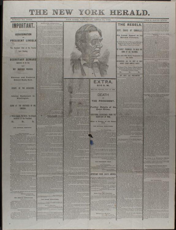 New York Herald–James Gordon Bennett, April 15, 1865
