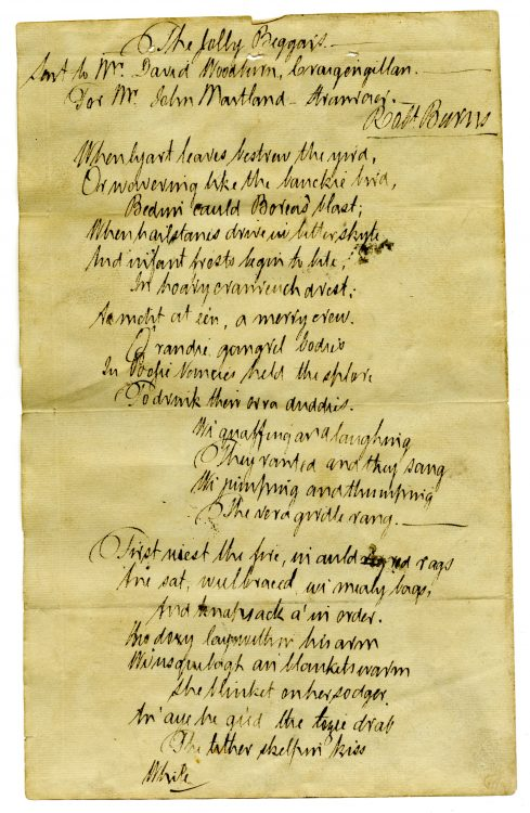 The Jolly Beggars–Forged autograph manuscript