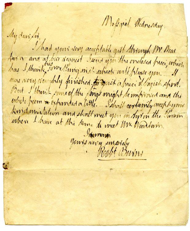 Forged autograph letter, Robert Burns to John Maitland