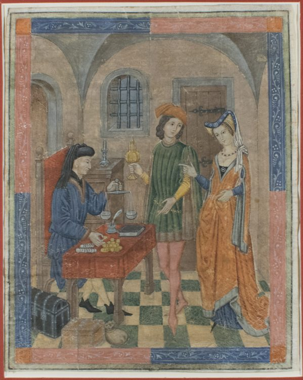 Pawnbroker, with a young couple buying or selling a gold cup