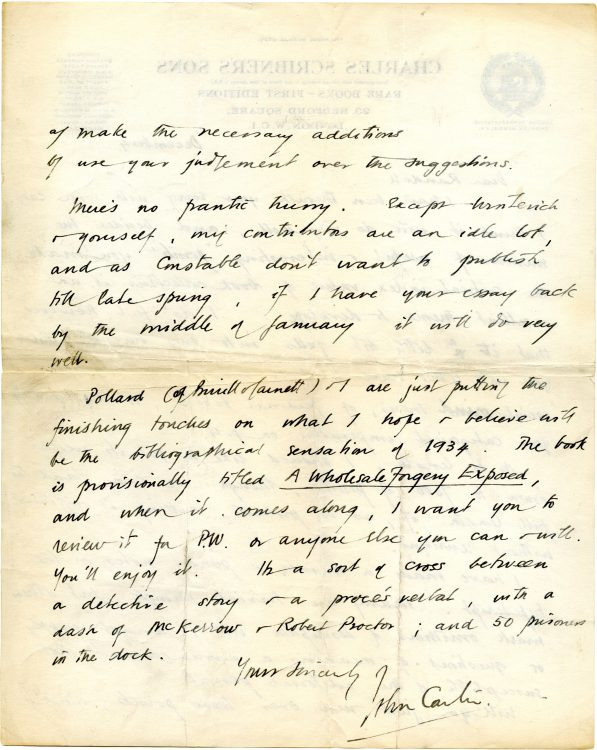 Autograph letter to [David] Randall