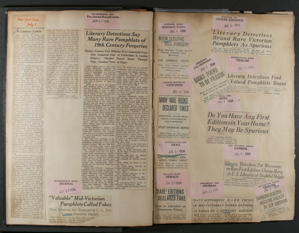 Scrapbook of American press coverage related to An Inquiry