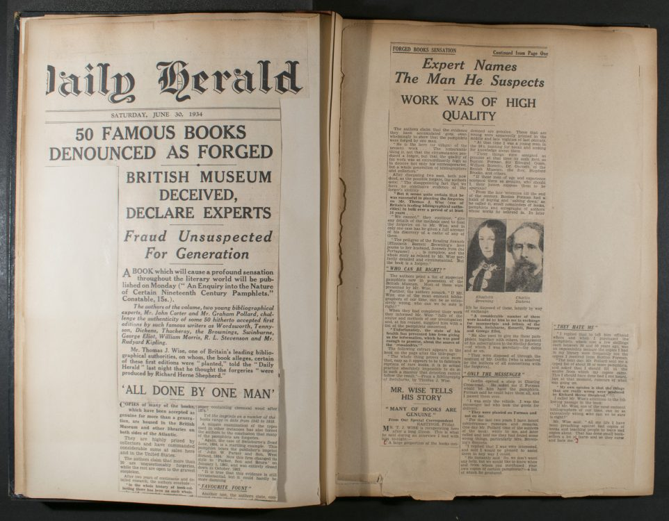 Scrapbook of British press coverage related to An Inquiry