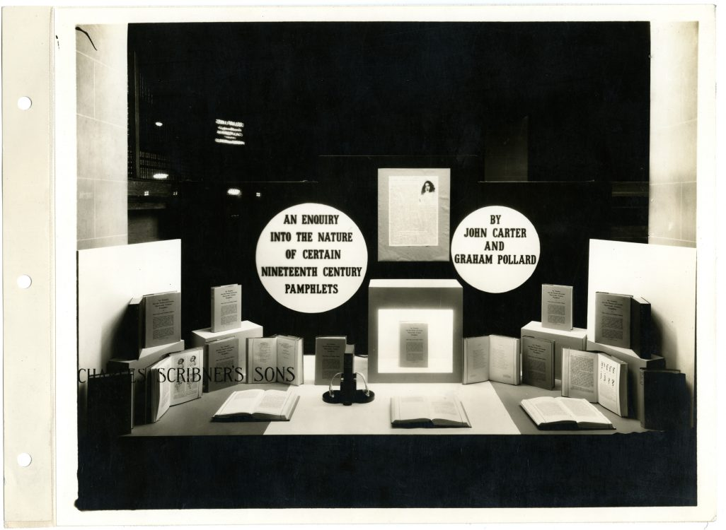 Photograph of Scribner's window display for An Enquiry Into the Nature of Certain Nineteenth Century Pamphlets
