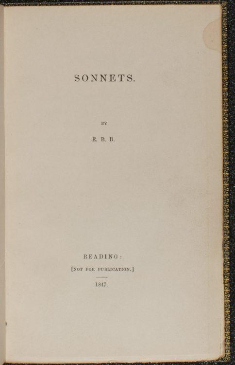 Sonnets– Elizabeth Barrett Browning (1806-1861)