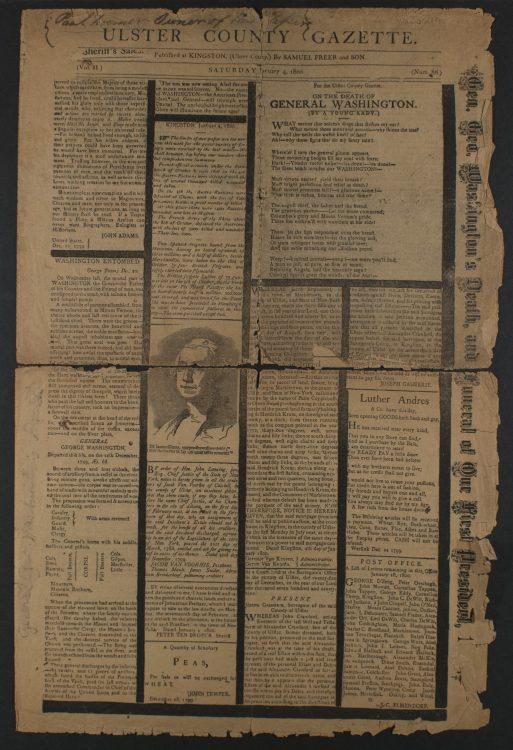 Ulster County Gazette– Samuel Freer & Son. January 4, 1800