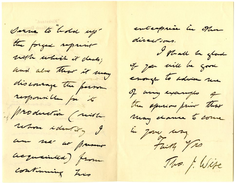Thomas J. Wise (1857-1937). Autograph letter to [unidentified recipient,] July 2, 1916. (verso)