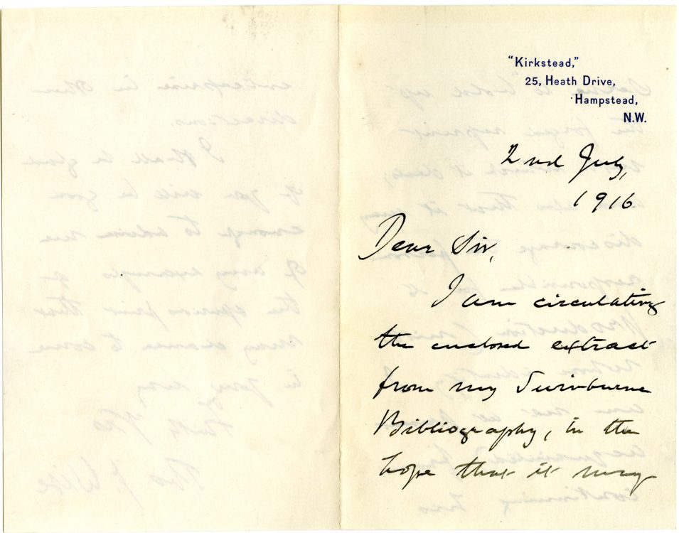 Thomas J. Wise (1857-1937). Autograph letter to [unidentified recipient,] July 2, 1916.