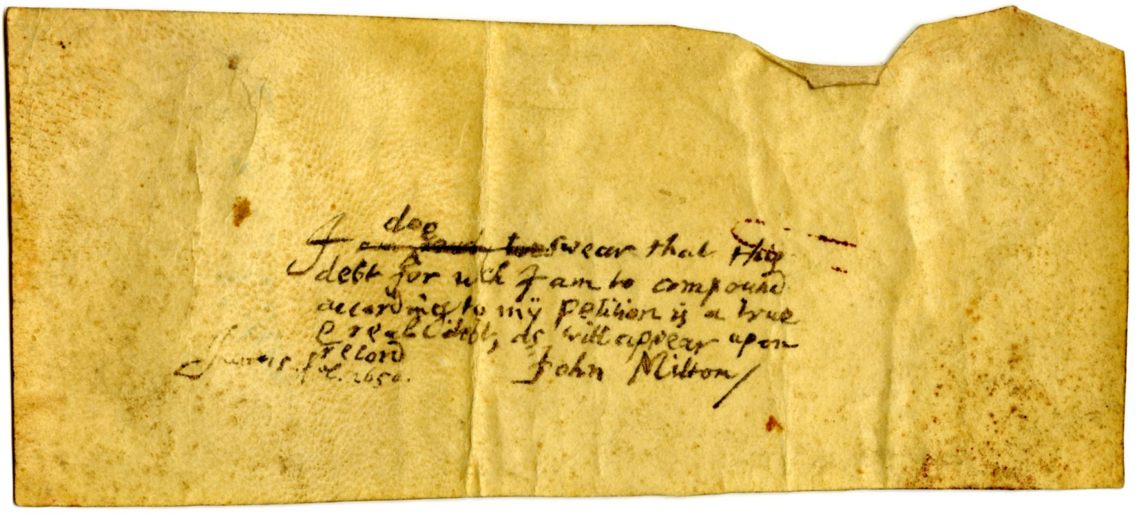 Forged manuscript document on vellum, June 25, 1650