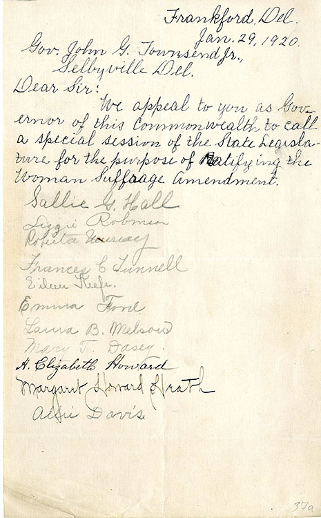 Autograph petition signed by 11 women of Frankford, Del., to Governor John G. Townsend, Jr., Selbyville, Del., January 29, 1920. Facsimile image courtesy Delaware Public Archives