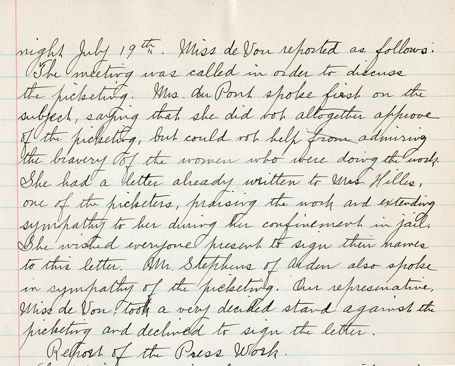 "Delaware Equal Suffrage Association. ""Miss de Vou reported as follows …"" excerpt of entry for July 27, 1917, from the Minutes of the Delaware Equal Suffrage Association, 1916-1919. Mabel Lloyd Ridgely papers. Facsimile image courtesy of .Delaware Public Archives"