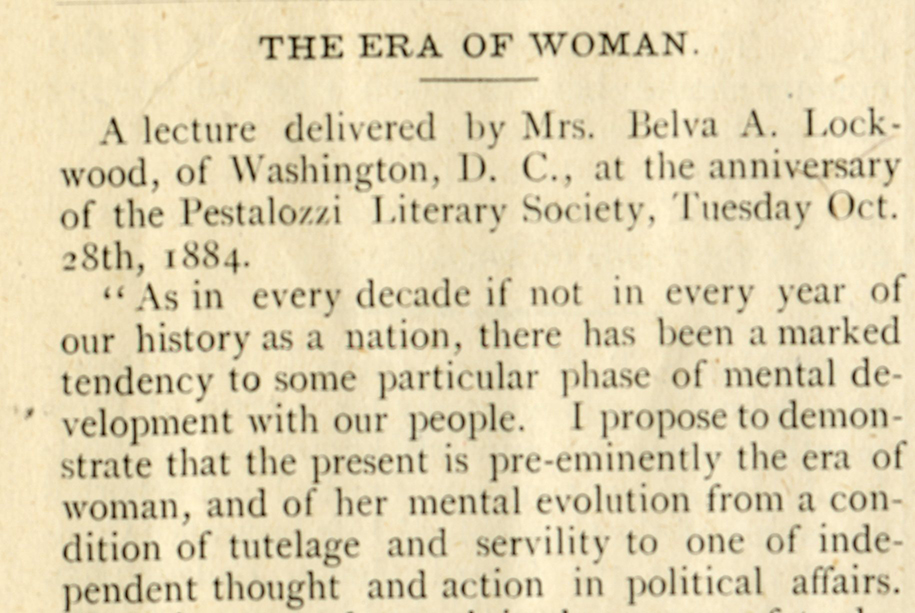 """""""The Era of Woman,"""" Delaware College Review, Volume III, No. 2, November 2, 1884. Facsimile image courtesy of University of Delaware Archives and Records Management"""