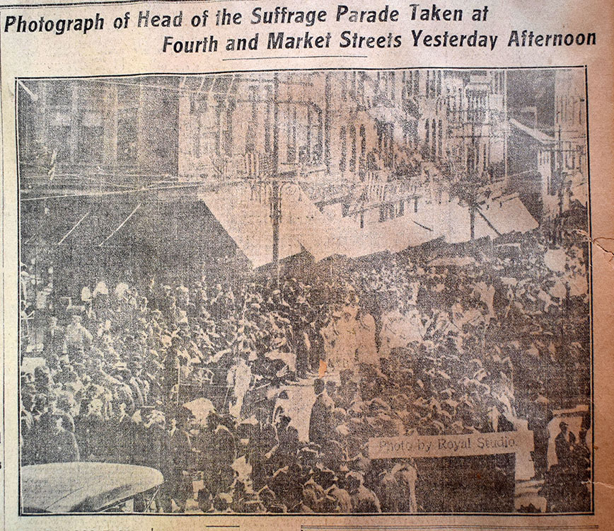 """""""Suffrage Parade Striking Success,"""" Wilmington, Del. : The Sunday Morning Star, May 3, 1914. Facsimile image courtesy of Delaware Historical Society"""
