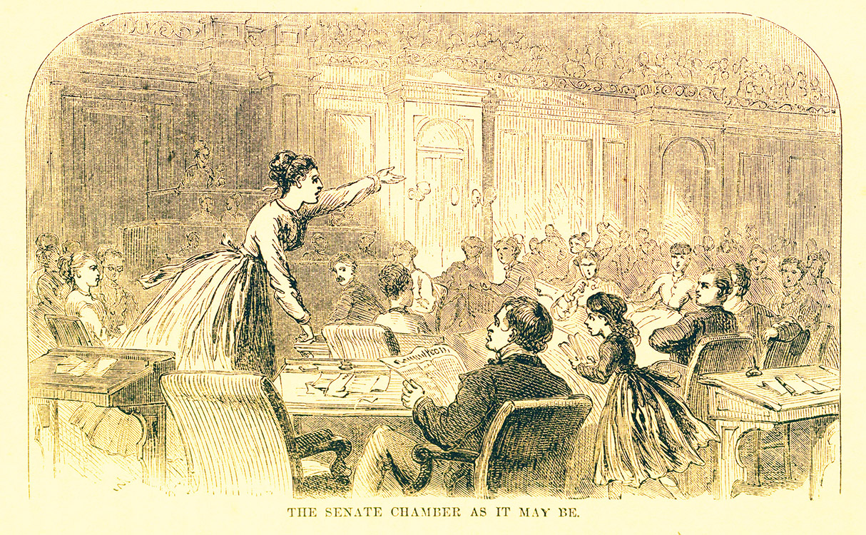 """""""Senate Chamber as It May Be."""" L. P. (Linus Pierpont) Brockett (1820-1893). Woman : Her Rights, Wrongs, Privileges, and Responsibilities; containing a sketch of her condition in all ages and countries, from her creation and fall in Eden to the present time… Hartford, Conn. : L. Stebbins, 1870"""