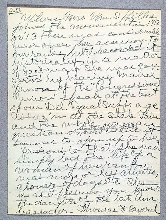 Mary R. (Mary Ruth) de Vou (1868-1949). Letter postscript to Henry Clay Reed, May 19, 1944. H. Clay Reed papers