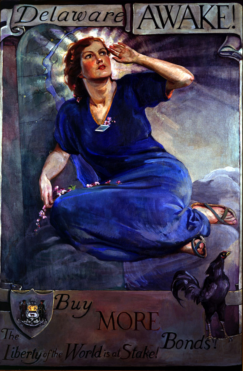 Ethel Pennewill Brown Leach (United States, 1878-1960). Delaware Awake! 1918. Oil on canvas. Museums Collections, University of Delaware Library, Museums and Press, Gift of the Women's Liberty Loan Committee of Delaware, 1918