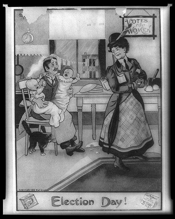 """E. W. Gustin, artist. """"Election Day!"""" [political cartoon], copyright January 21, 1909. Facsimile image courtesy of Library of Congress"""