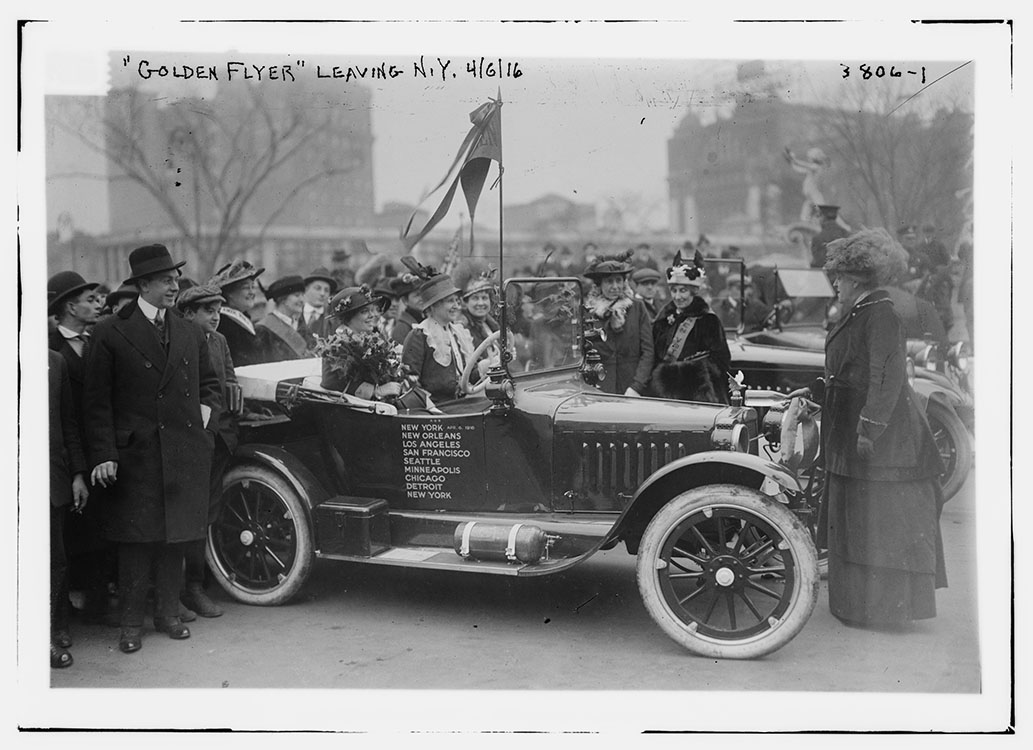 "Photograph of the ""Golden Flyer"" used in national automobile tour, April 7, 1916.  George Grantham Bain Collection. Facsimile image courtesy Library of Congress"