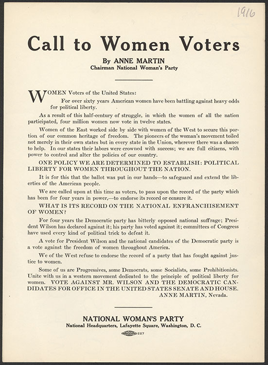"Anne (Anne Henrietta) Martin (1875-1951).  ""Call to Women Voters"" [handbill]. Washington, D.C. : National Women's Party, 1916. Woman Suffrage Collection"