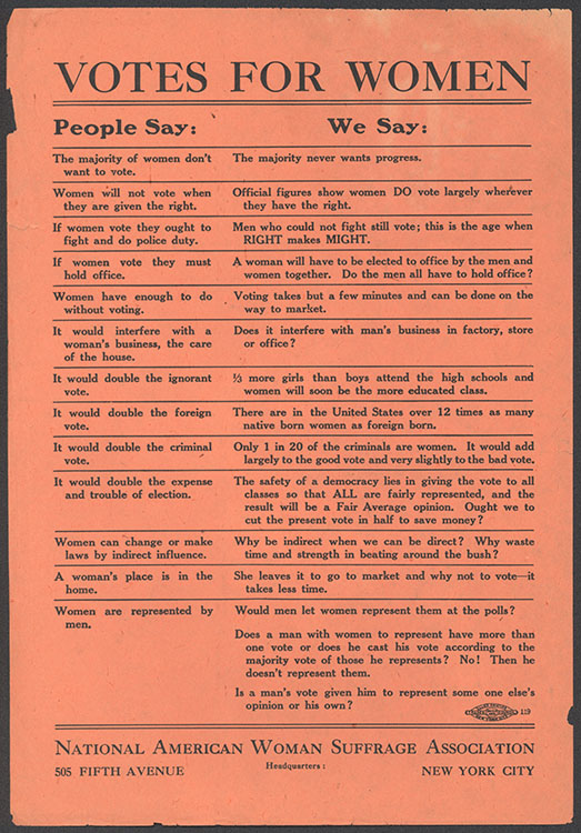 """National American Woman Suffrage Association. """"People Say … We Say"""" [handbill], undated. Woman Suffrage Collection"""