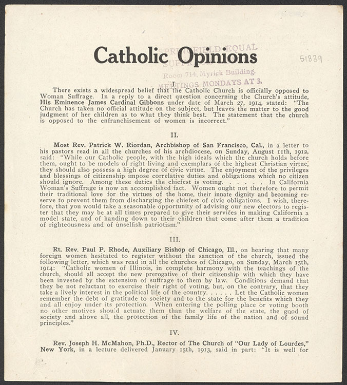 """National Woman Suffrage Publishing Company.  """"Catholic Opinions"""" [leaflet], undated. Woman Suffrage Collection"""