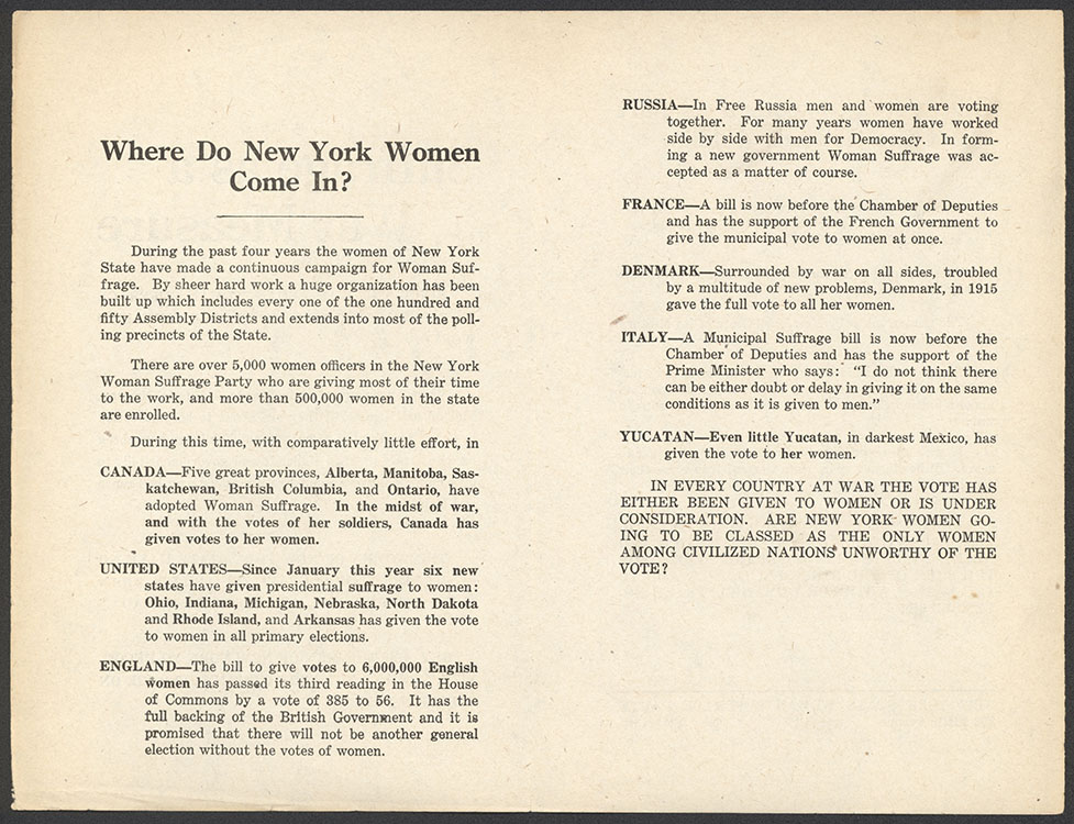 Suffrage as a War Measure [leaflet center pages]. New York : National Woman Suffrage Publication Co., October 1917. Woman Suffrage Collection