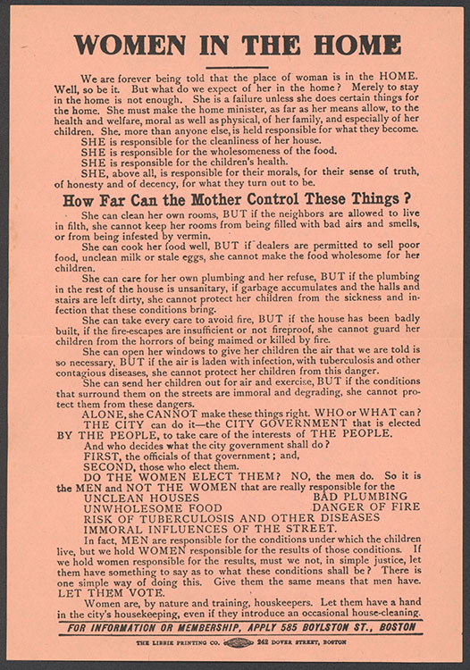 """Massachusetts Equal Suffrage Association. """"Woman in the Home"""" [handbill]. Boston, circa 1915.   Woman Suffrage Collection"""