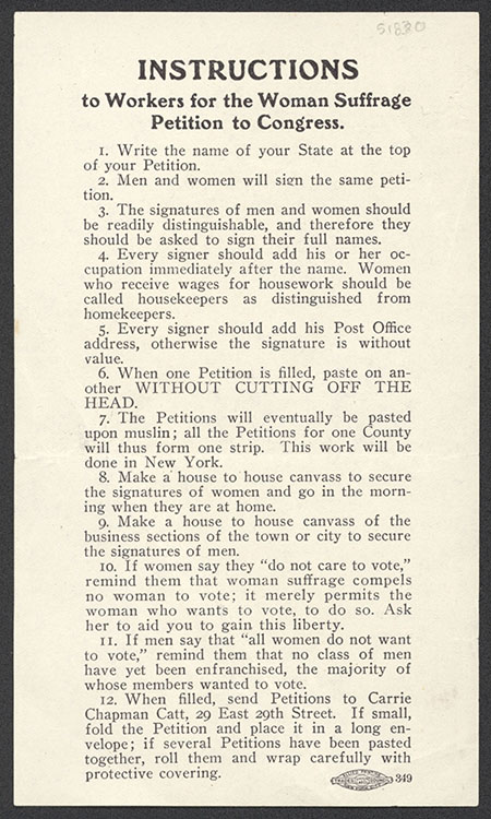 "National American Woman Suffrage Association. ""Instructions to Workers"" [handbill], 1909. Woman Suffrage Collection"