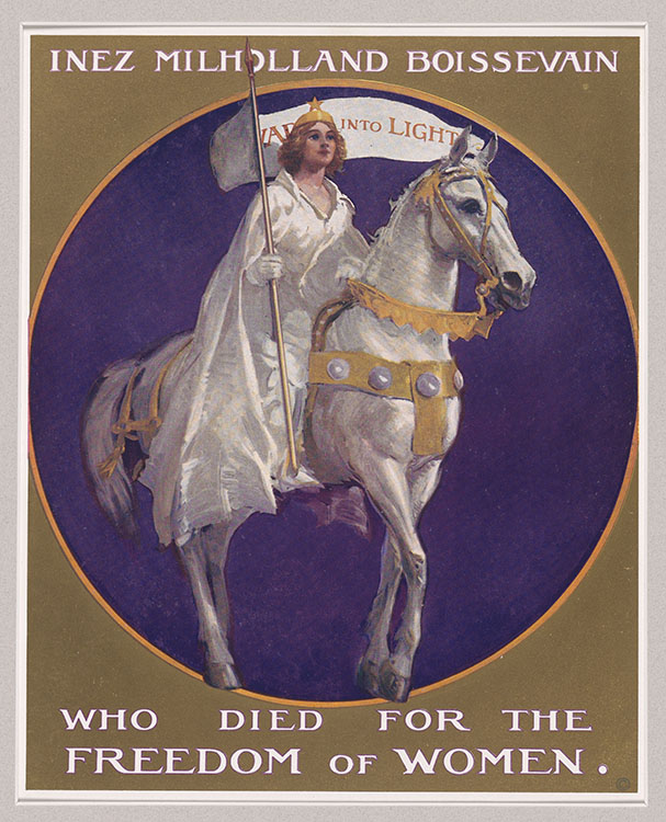 """Inez Milholland Boissevain who died for the Freedom of Women"" [poster from pageant, ""Forward into Light,"" commissioned by the National Woman's Party, 1924]. Woman Suffrage Collection"