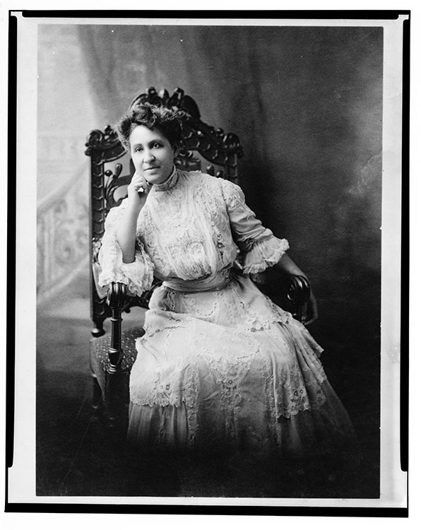 Mary Church Terrell, three-quarter length portrait, seated, facing front, between 1880-1890. Facsimile image courtesy of Library of Congress