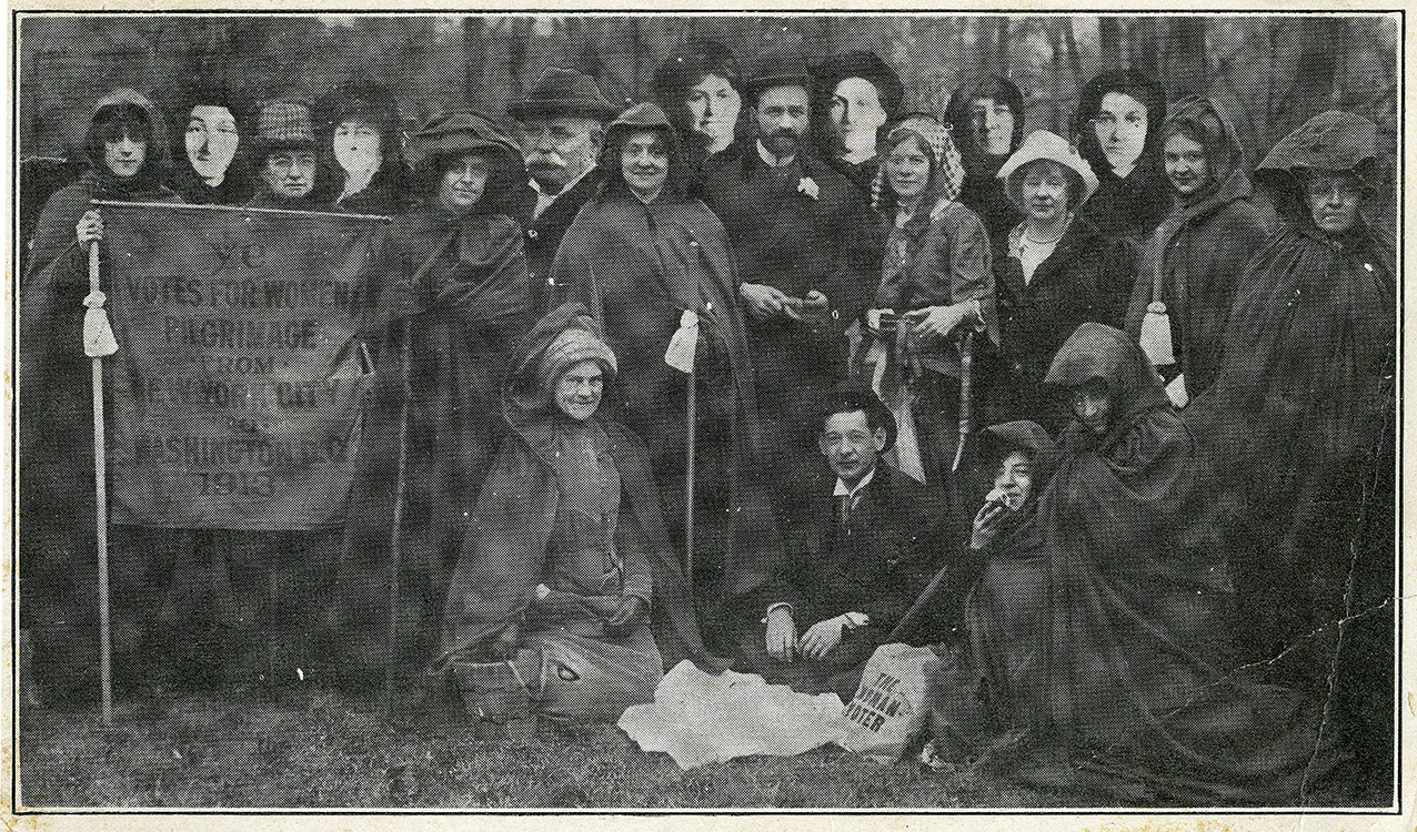 """""""Ye Votes for Women Pilgrimage from New York City to Washington, D.C., 1913"""" [photographic postcard], 1913. Gregory C. Wilson collection of African-American postcards and trade cards"""