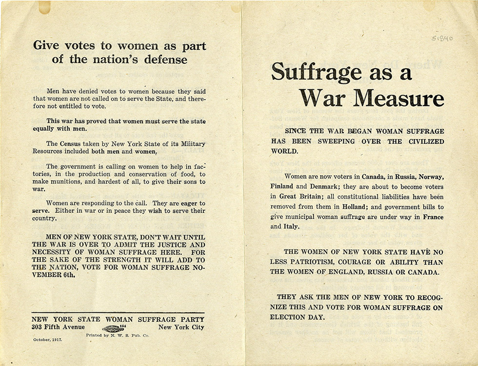 "New York State Woman Suffrage Party. ""Suffrage as a War Measure"" [leaflet]. New York : National Woman Suffrage Publication Co., October 1917. Woman Suffrage Collection"