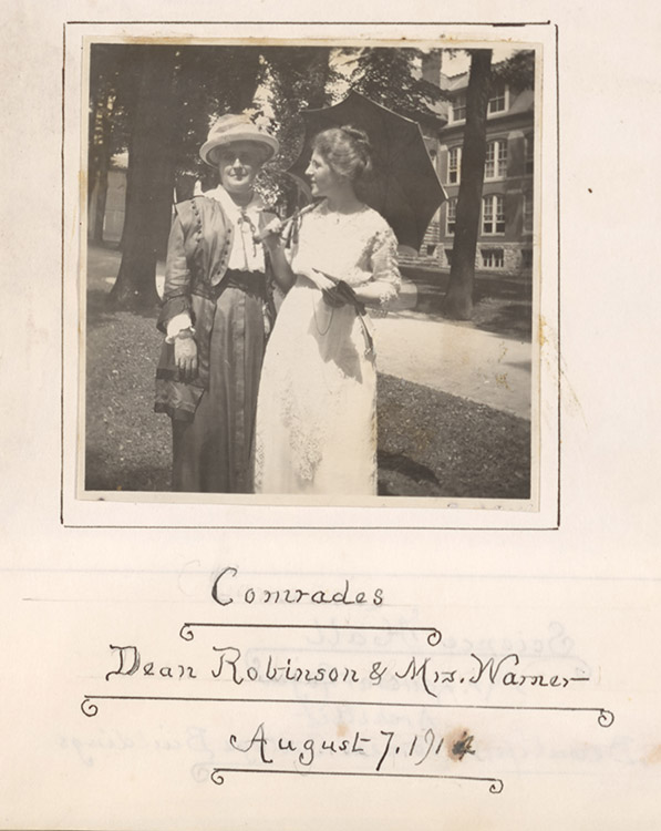 """Emalea P. (Emalea Pusey) Warner (1853-1948).  Photograph of """"Comrades : Dean Robinson and Mrs. Warner,"""" August 7, 1914]. Emalea Pusey Warner Scrapbook number 1. Facsimile image courtesy of University of Delaware Archives and Records Management"""