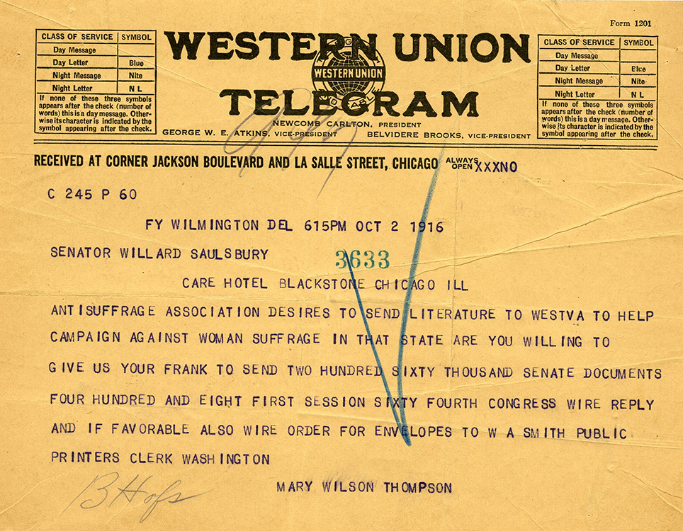 Mary Wilson Thompson (1867-1947). Western Union Telegram, Wilmington, Del., to Willard Saulsbury, Jr., Chicago, Ill., October 2, 1916. Willard Saulsbury, Jr., papers