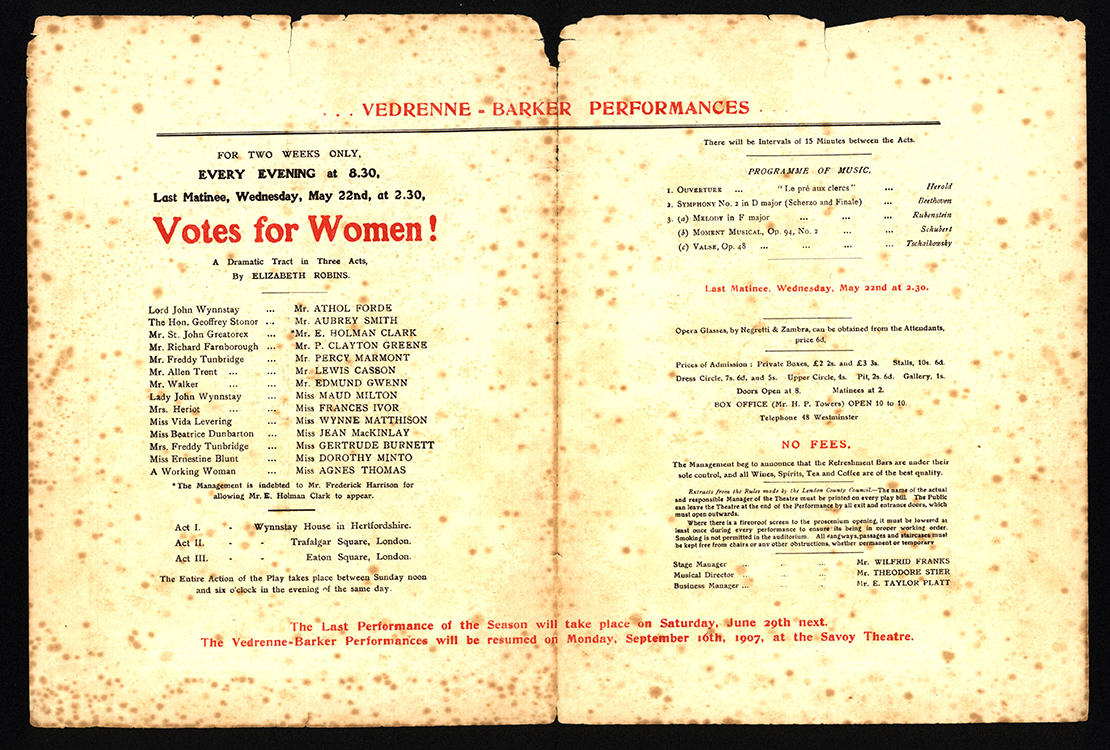 Elizabeth Robins (1862-1952). Votes for Women! A Dramatic Tract in Three Acts [programme]. London : Royal Court Theatre, 1907.  Mark Samuels Lasner Collection