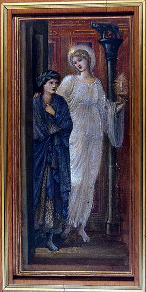 Edward Burne-Jones (British, 1833–1898). Virgil and the Muse of Poetry, c. 1880–1890. Watercolor heightened with gold on paper. Mark Samuels Lasner Collection.