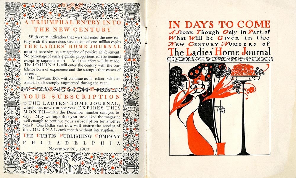 """""""In Days to Come,"""" prospectus designed by Will Bradley and ordering blank for the 1901 volume of Ladies' Home Journal"""