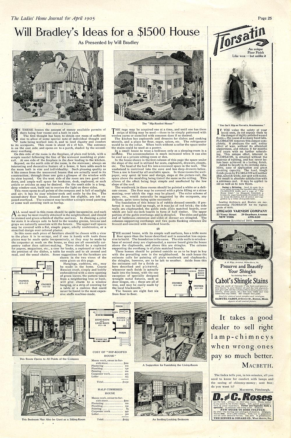 """""""Will Bradley's Ideas for a $1500 House as Presented by Will Bradley,"""" Ladies' Home Journal, April 1905."""