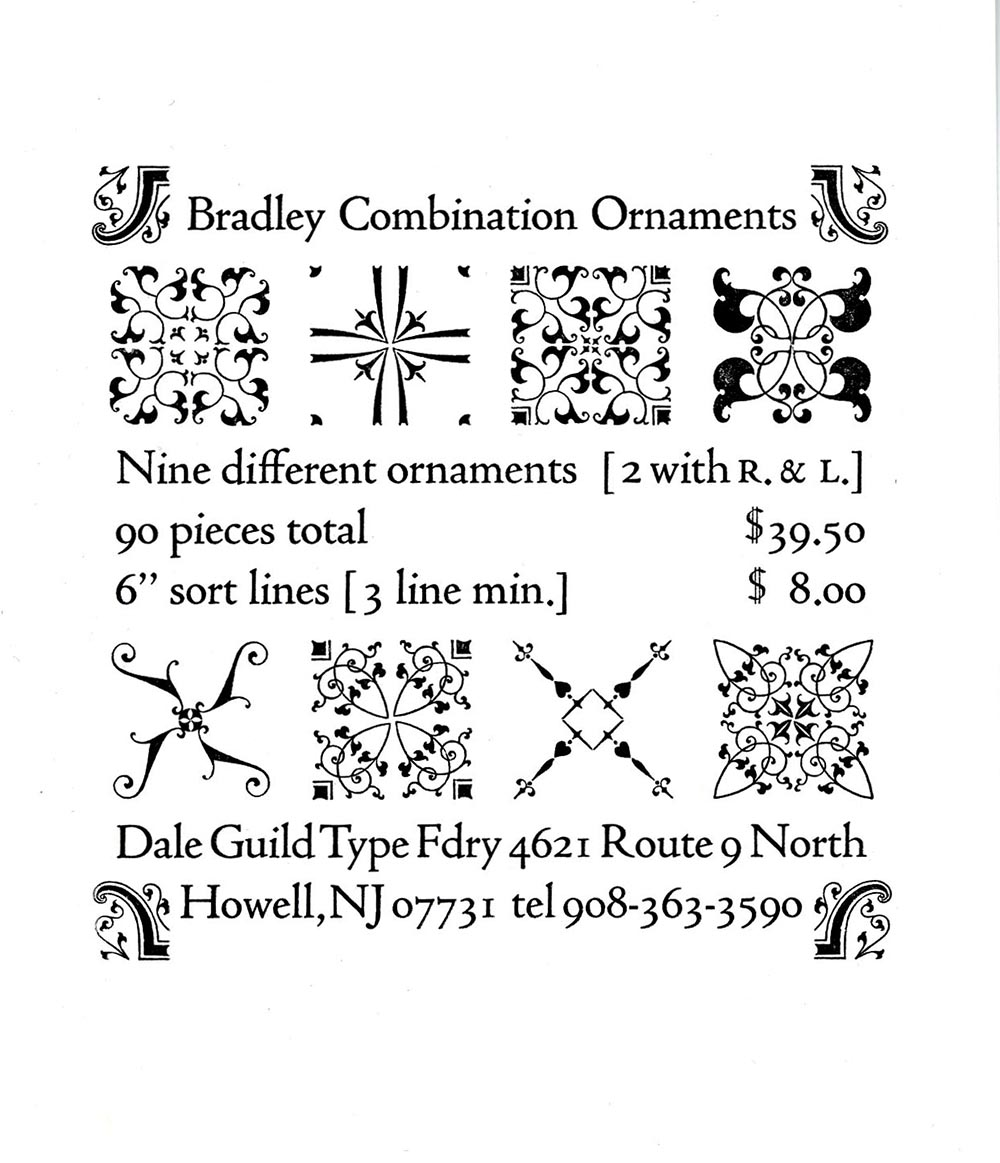 Bradley Combination Ornaments type set with advertisement